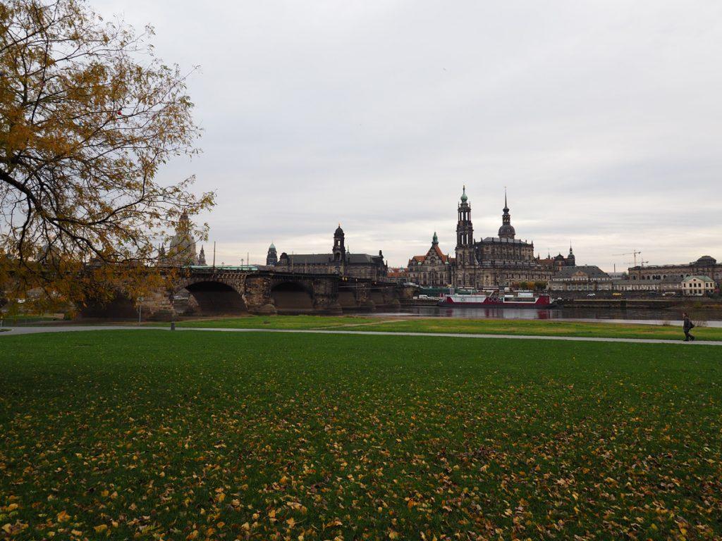 Dresden Elbufer - Blick auf die Altstadt