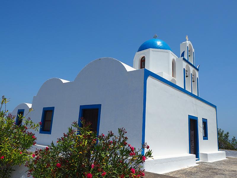 Santorin - Wandern von Fira nach Oia - Kapelle