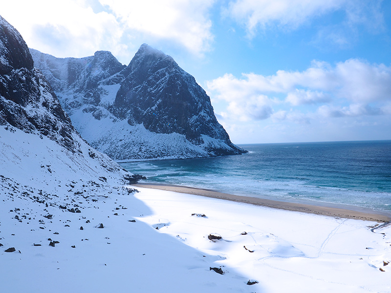 Lofoten - Kvalvika Beach im Winter