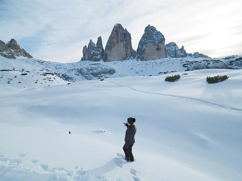 Winterwandern Drei Zinnen Blick - Rienzboden