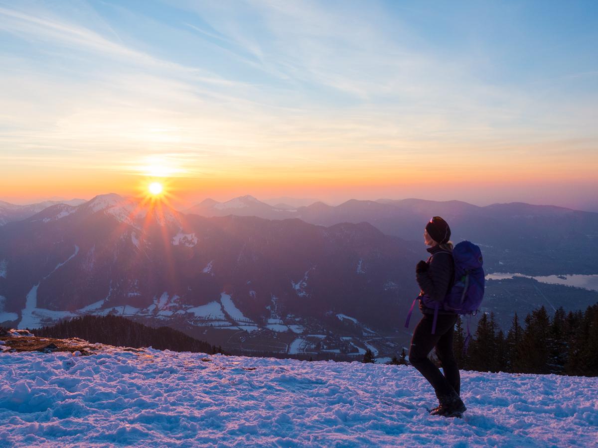 Tegernsee Winterwandern - Wallberghaus, Sonnenuntergang