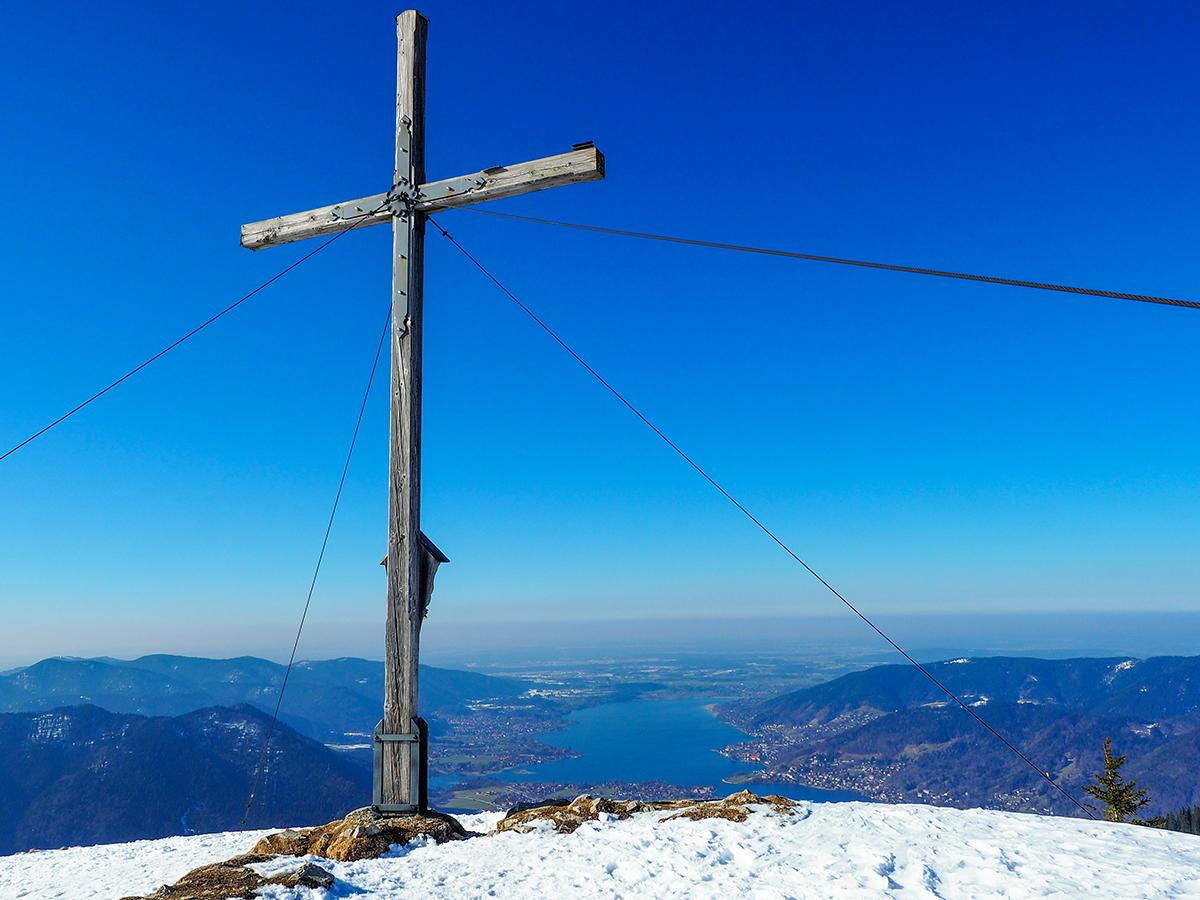 Winterwandern Tegernsee - Setzberg, Gipfelkreuz