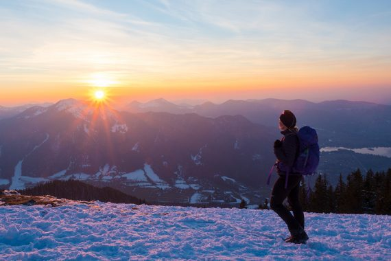 Winterwandern- egernsee Wallberg & Setzberg, Sonnenuntergang