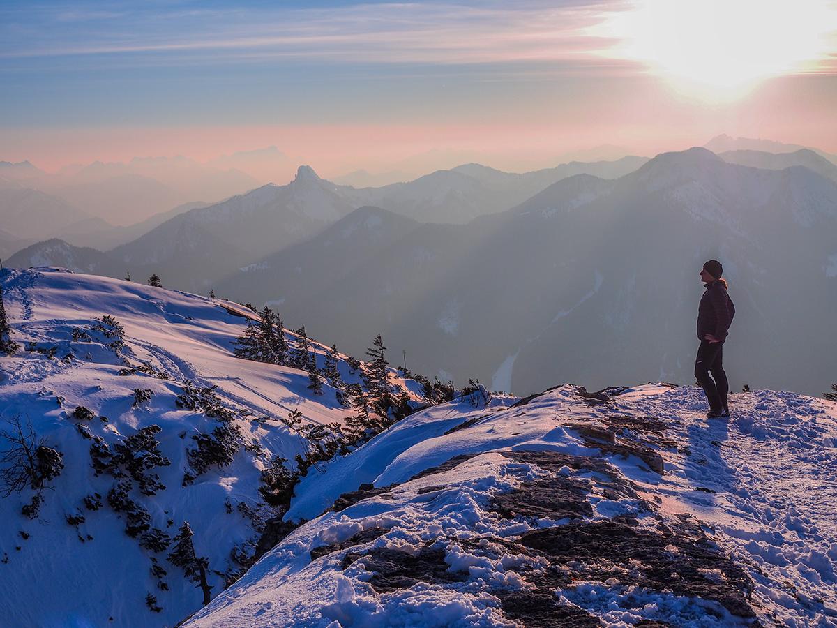 Winterwandern Tegernsee - Wallberg, Sonnenuntergang