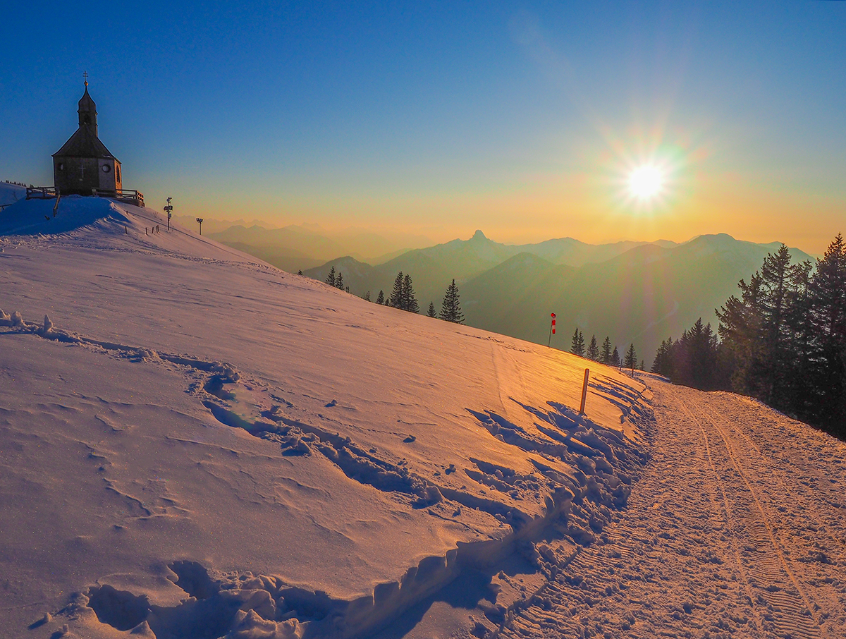 Winterwandern Tegernsee - Wallbergkapelle, Sonnenuntergang