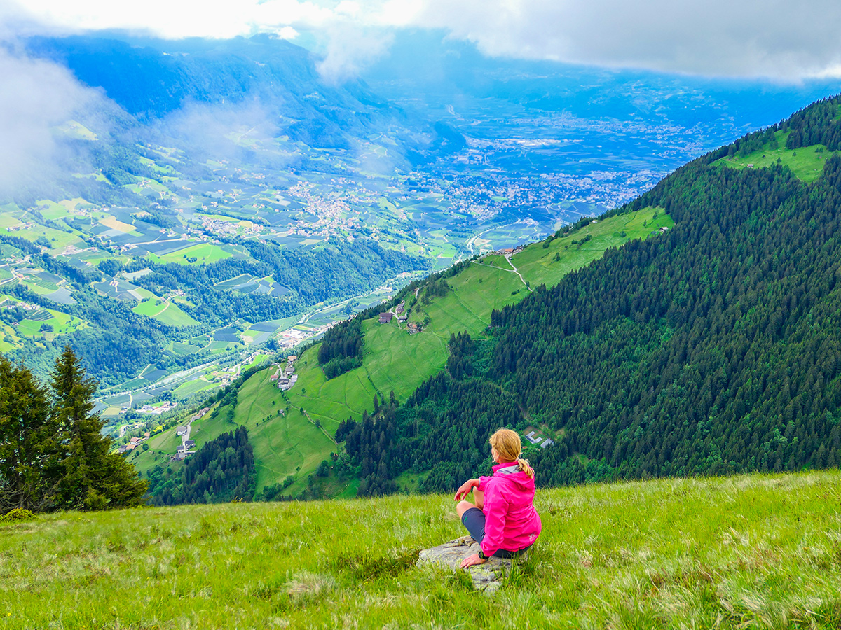Passeiertal - Wandern Saltaus - Sattelspitz, Blick Meran