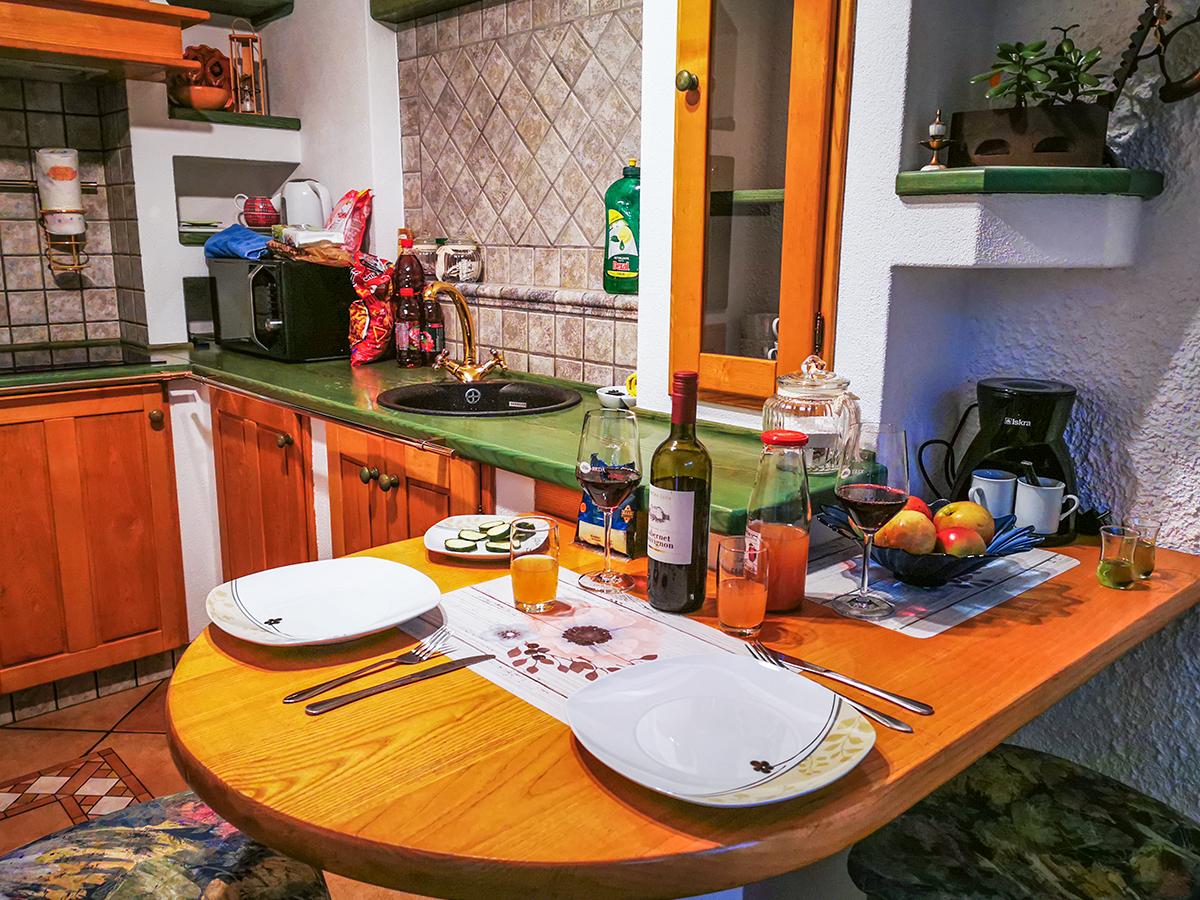 Weitwandern Chiemsee - Adria, Slowenien Ferienhaus Abendessen