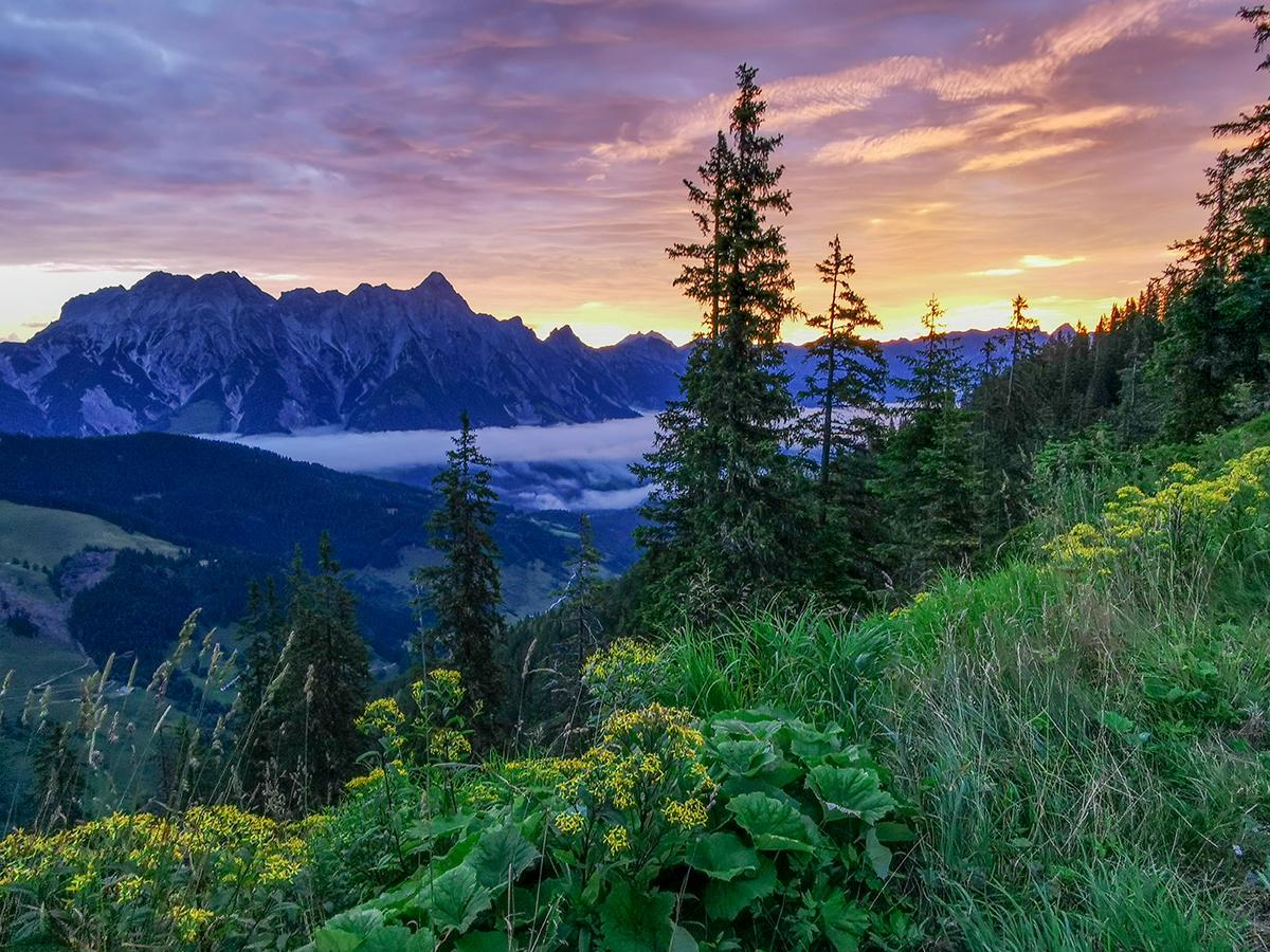 Weitwandern Saalachtaler Höhenweg, Sonnenuntergang