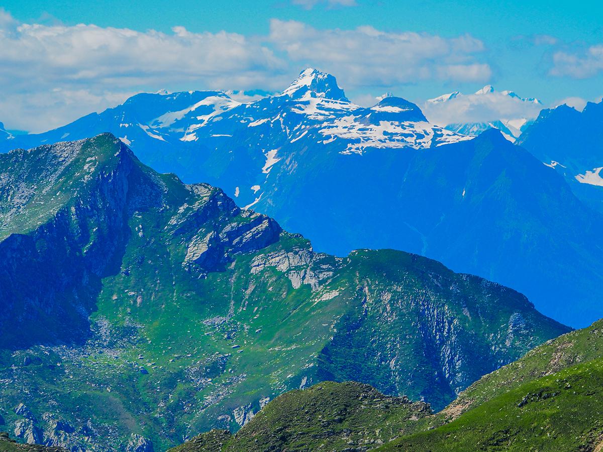 Wandern am Lago Maggiore, Cima della Laurasca, Ausblick Viertausender