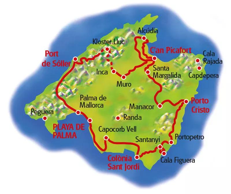 Mallorca Radreise - Landkarte Eurobike